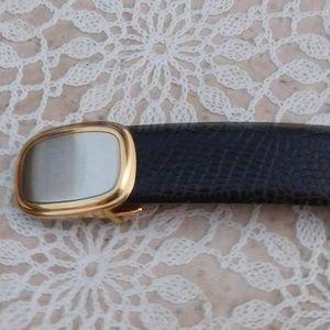 Yves Saint Laurent Black Lizard Leather  Belt